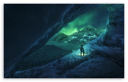 Download Man, Cave, Winter UltraHD Wallpaper