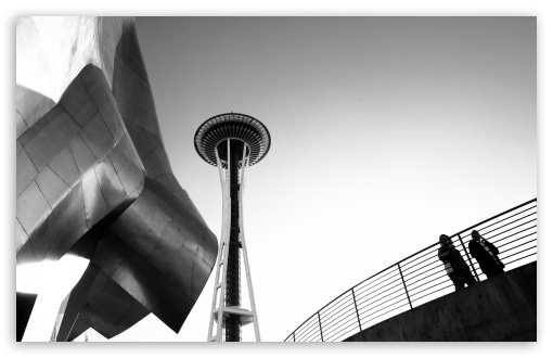 Download Looking Up At The Seattle Space Needle UltraHD Wallpaper