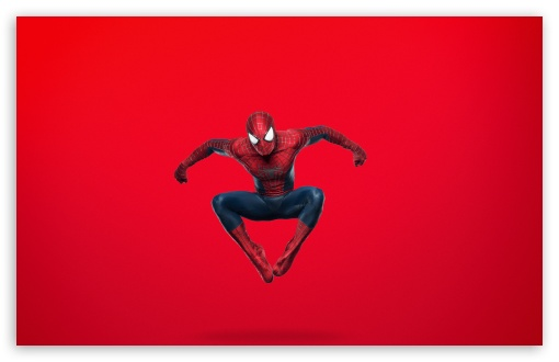 Download Spider Man Jumping (Red Background) UltraHD Wallpaper
