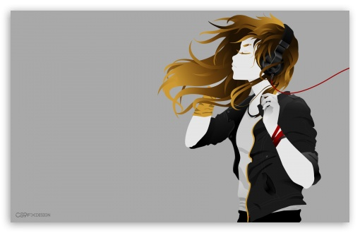 Download Girl with Headphone - by CS9 Fx Design UltraHD Wallpaper