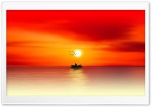 Fishing, Sunset, Painting