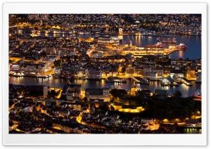 Bergen At Night Panorama