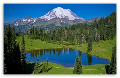 Download Landscape, Tipsoo Lake, Mt. Rainier National... UltraHD Wallpaper