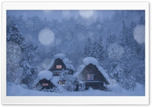 Snowy Chalets, Forest Trees,...
