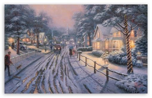 Download Hometown Christmas Memories by Thomas Kinkade UltraHD Wallpaper