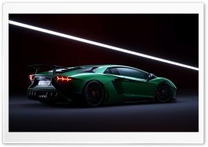 Green Lamborghini Aventador...