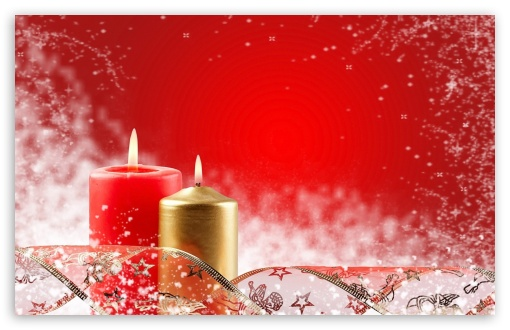 Download Two Christmas Candles UltraHD Wallpaper