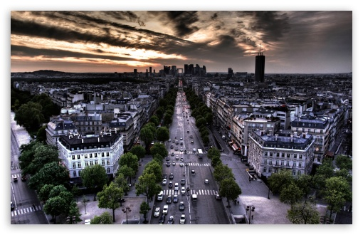 Download Paris Aerial View From Triumphal Arch In... UltraHD Wallpaper