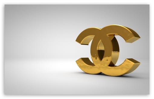 Download Chanel Logo Golden UltraHD Wallpaper