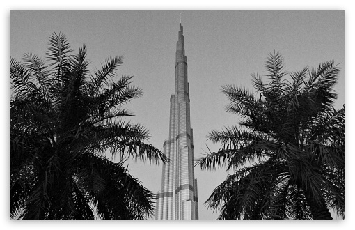 Download Burj Khalifa Black And White UltraHD Wallpaper