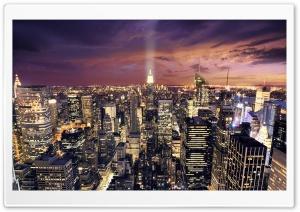 Manhattan Aerial View At Night