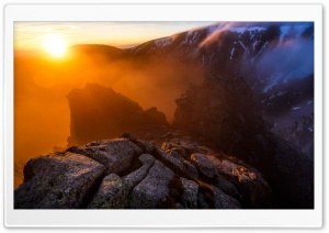 Winter Sunrise Mountain Rocks...
