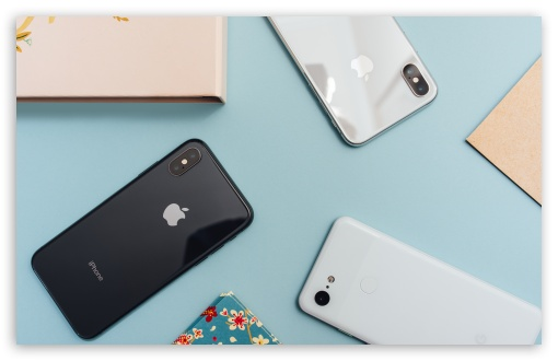 Download Apple iPhones Smartphones Flat Lay UltraHD Wallpaper