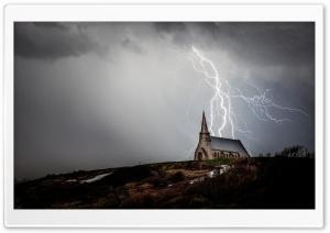 Church Night Storm Lightning