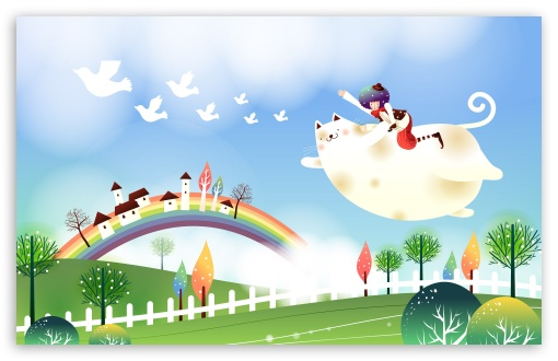 Download Childhood Fairytales Flying Cat UltraHD Wallpaper