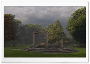 Ancient Greek temple in forest