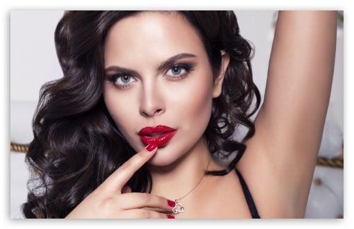 Download Brunette Girl With Red Lips UltraHD Wallpaper