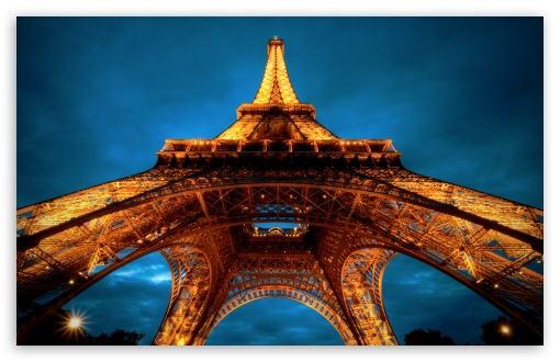 Download Paris At Night   Eiffel Tower View From Below UltraHD Wallpaper