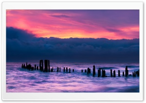 Old Wooden Pier, Morning,...