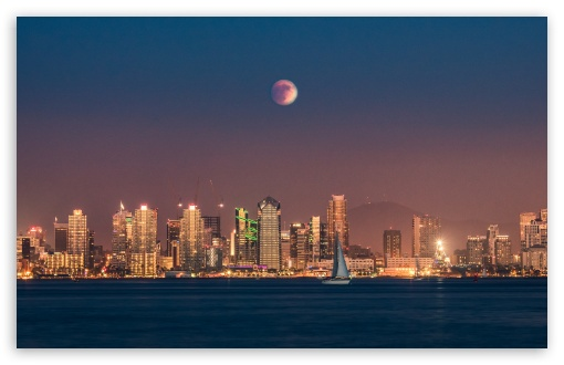 Download Supermoon Eclipse over San Diego UltraHD Wallpaper