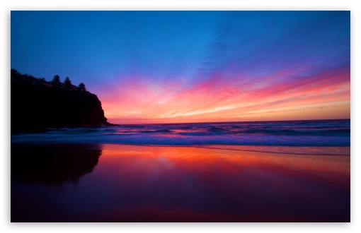 Download Beautiful Smooth Beach, Sunset UltraHD Wallpaper