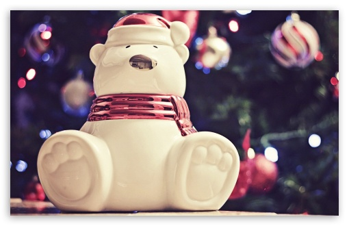 Download Polar Bear Christmas Decoration UltraHD Wallpaper