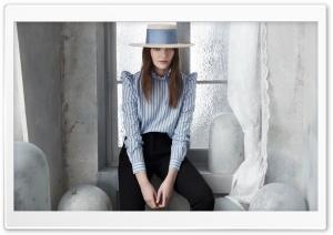 Woman, Boater Hat, Blue...