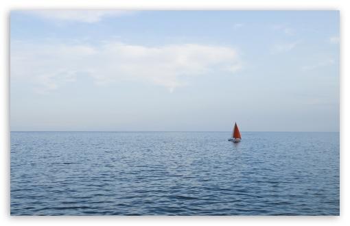 Download Solo Sail Boat UltraHD Wallpaper