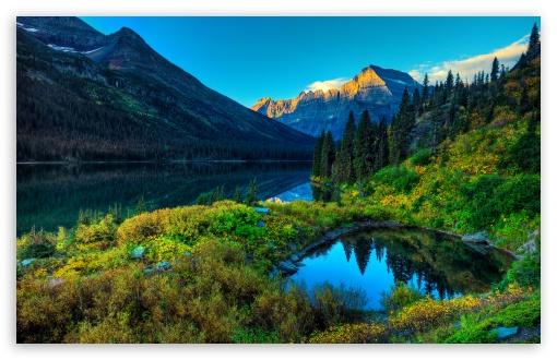Download HDR Mountains Lake UltraHD Wallpaper