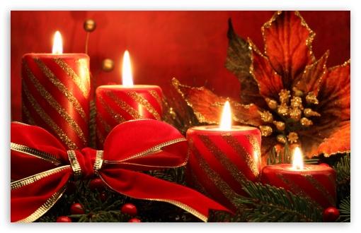Download Red Candles And Ribbon UltraHD Wallpaper