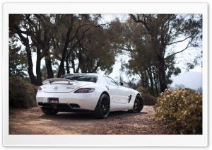 White Mercedes Benz AMG SLS
