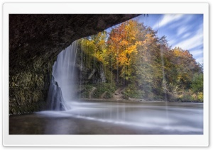 Waterfall Over Cave Autumn