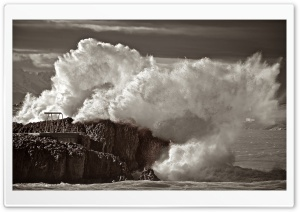 Waves Crashing On Rocks Sepia