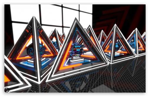 Download Glowing Pyramids UltraHD Wallpaper