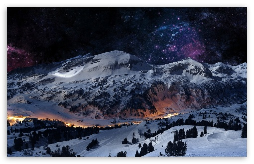 Download Night Sky Snow UltraHD Wallpaper