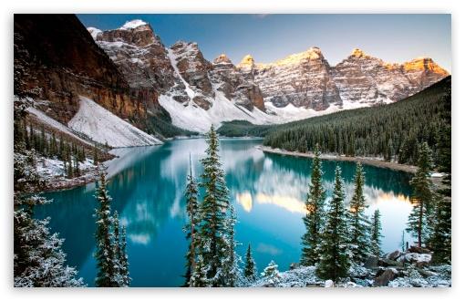 Download Winter, Moraine Lake, Alberta, Canada UltraHD Wallpaper