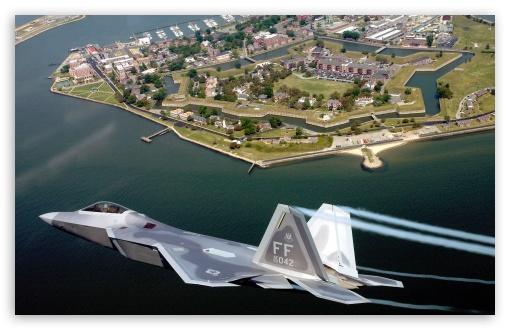 Download F22A Raptor Flying Over Virginia UltraHD Wallpaper