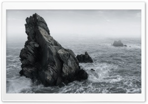 Rocks, Mist, Rough Sea,...