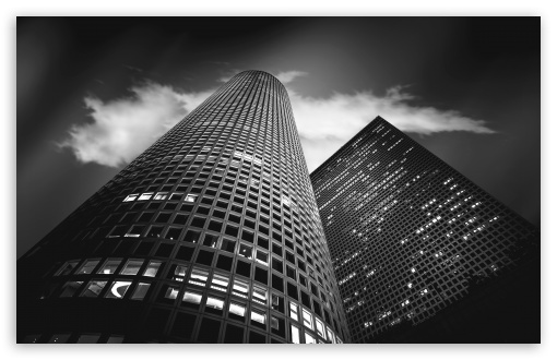 Download Israel Tel Aviv City Buildings Black and White UltraHD Wallpaper