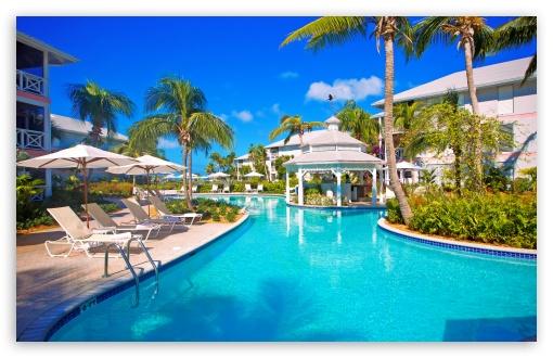 Download Tropical Resort Pool UltraHD Wallpaper