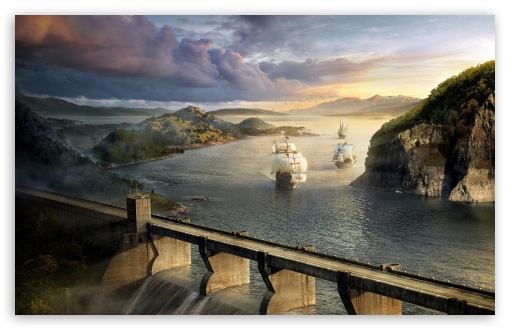 Download Modern Dam And Old Ships UltraHD Wallpaper