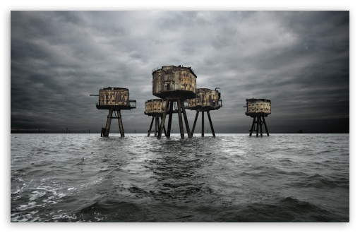 Download Maunsell Forts In The Thames Estuary, England UltraHD Wallpaper