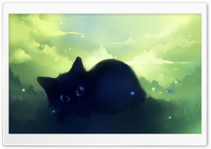 Dreamy Black Kitty Painting