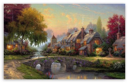 Download Cobblestone Bridge by Thomas Kinkade UltraHD Wallpaper