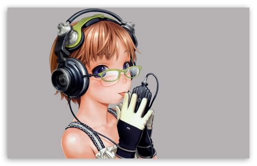 Download Listening Music Anime UltraHD Wallpaper