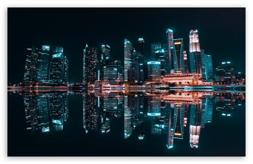 Download City Reflection, Night UltraHD Wallpaper