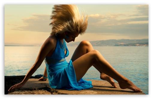 Download Girl In Blue Dress UltraHD Wallpaper