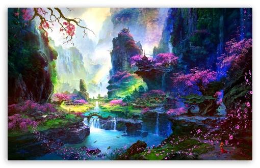 Download Amazing Springtime Landscape Artwork UltraHD Wallpaper