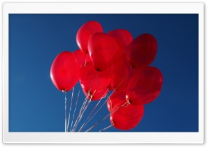 Red Heart Balloons in the Sky