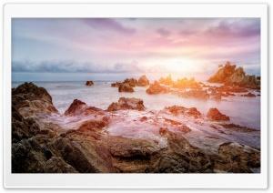 Beach, Glowing Light, Rocks,...